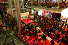 Singapore: Live show. Live show host by celebrity draw large crowd at Orchand Ion Royalty Free Stock Photo