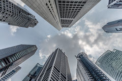 Singapore, looking up the skyscrapers Royalty Free Stock Photography