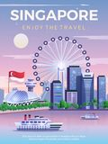 Singapore loppaffisch royaltyfri illustrationer