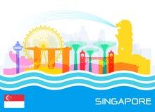 Singapore loppgränsmärken royaltyfri illustrationer