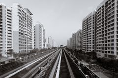 Singapore LRT train railway line pass through residential area royalty free stock photo