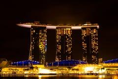Singapore - Maart 1, 2017: Marina Bay Sands, het bezit van het wereld` s duurste standalone casino in Singapore Royalty-vrije Stock Fotografie