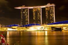 Singapore - Maart 1, 2017: Marina Bay Sands, het bezit van het wereld` s duurste standalone casino in Singapore Stock Afbeelding