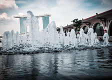 31 Singapore-MAART: Marina Bay Sands Resort Hotel op Mar 31, Stock Afbeeldingen
