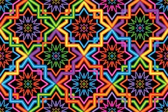 Singapore Malay Hari Raya Haji neon symmetry corner connect seamless pattern. This illustration is Singapore Malay style with wire lamp neon effect symmetry and