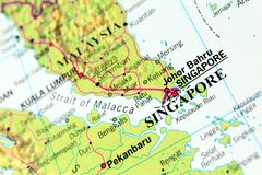 Singapore Map Royalty Free Stock Photos