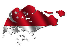 Singapore map flag Royalty Free Stock Photo