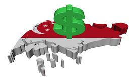 Singapore map flag with dollar symbol Stock Photo