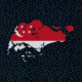Singapore map flag on hex code illustration. Retro 8 bit pixellated Singapore map flag on hex code illustration Royalty Free Stock Photos
