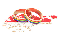 Singapore map with LGBT rainbow rings, 3D rendering Stock Photo