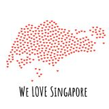 Singapore Map with red hearts - symbol of love. abstract background. Singapore Map with red hearts- symbol of love. abstract background with text We Love Stock Images