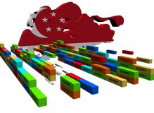 Singapore map with stacks of containers Stock Photo