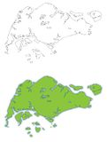 Singapore map vector illustration. Singapore and its surrounding islands vector illustration and outline royalty free illustration
