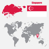 Singapore map on a world map with flag and map pointer. Vector illustration royalty free illustration