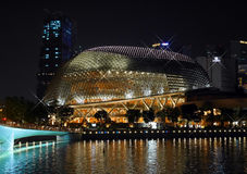 SINGAPORE - MARCH 26, 2016: Beautiful landmark of Esplanade Theatre, sparkling at night Royalty Free Stock Photography