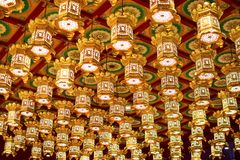 Singapore - March 4, 2018: Beautiful lights decoration on the ceiling in Buddha Tooth Relic Temple stock photos