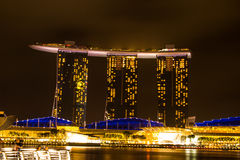 Singapore - March 1, 2017: Marina Bay Sands, the world`s most expensive standalone casino property in Singapore. Royalty Free Stock Photos