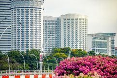 Close up view of skyscrapers from Esplanade bridge in Singapore royalty free stock photos