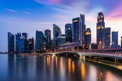 Singapore skyline and illuminated financial district night view, Downtown Urban stock photos
