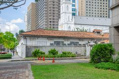 CHIJMES and modern buildings in Singapore stock photo