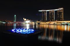 Singapore Marina Bay. With beautiful lights Stock Photography