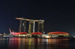 Singapore Marina Bay. At night Stock Images