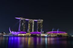 Singapore Marina bay. At night Royalty Free Stock Photo
