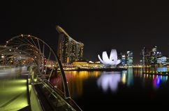 Singapore Marina Bay. At night Stock Photography