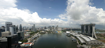 Singapore Marina Bay. Panorama Aerial View Royalty Free Stock Photography