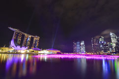 Singapore Marina Bay. Shining at night Stock Photos