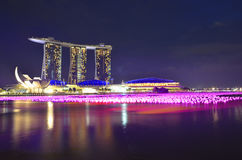 Singapore Marina Bay. Shining at night Royalty Free Stock Images