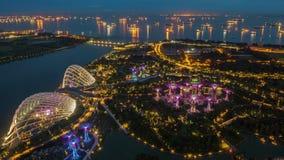 Singapore Marina Bay Aerial Sunset timelapse. 4k stock footage
