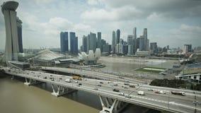 Singapore Marina Bay Aerial view stock video footage