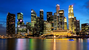 Singapore Marina Bay Business District. At night Royalty Free Stock Images