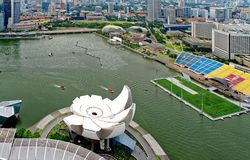 Singapore, Marina Bay - dicembre 2012 Vista da sopra in Singap fotografie stock libere da diritti