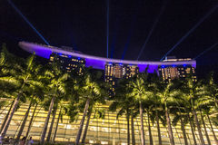 Singapore Marina Bay illuminations at night Royalty Free Stock Photo