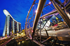 Singapore Marina Bay Integrated Resort. With the Helix Bridge in the foreground Royalty Free Stock Photo