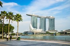 Singapore Marina Bay landscape with blue sky.  Stock Photos