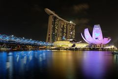Singapore Marina Bay night view. Night view over Singapore Marina Bay with their famous landmarks Stock Photos