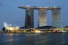 Singapore Marina Bay night view. Night view over Singapore Marina Bay with their famous landmarks Stock Photo