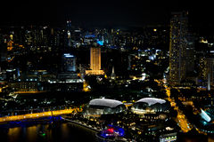 Singapore Marina Bay in Nigth Royalty-vrije Stock Afbeeldingen