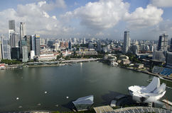 Singapore Marina Bay och Art Science Museum Arkivfoton