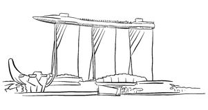 Singapore Marina Bay Outline Sketch. Famous Destination Landmark, Hand drawn Vector Artwork stock illustration