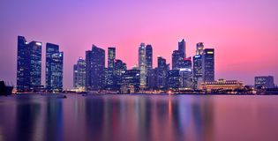Singapore Marina Bay Panorama Royaltyfri Bild