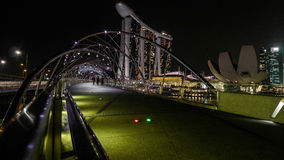 Singapore Marina Bay panorama at the night Stock Photos