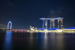 Singapore Marina Bay Sand during night time. Singapore Marina Bay Sand which a shot was taken at night Stock Photos