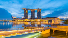 Singapore Marina Bay Sands and Merlion at night in Singapore cit. Singapore City, Singapore - 22 January, 2017: Singapore Marina Bay Sands and Merlion at night Stock Images