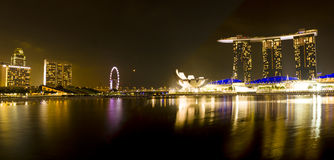 Singapore Marina Bay Sands panorama. Singapore Marina Bay Sands night panorama Royalty Free Stock Photos