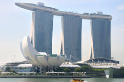 Singapore Marina Bay Sands. A photo taken on the Singapore Marina Bay Sands hotel, theatres and casino, with the Art Science Museum in the foreground. All in Royalty Free Stock Photos