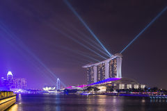 Singapore Marina Bay Sands Resort illumination at night Stock Photography